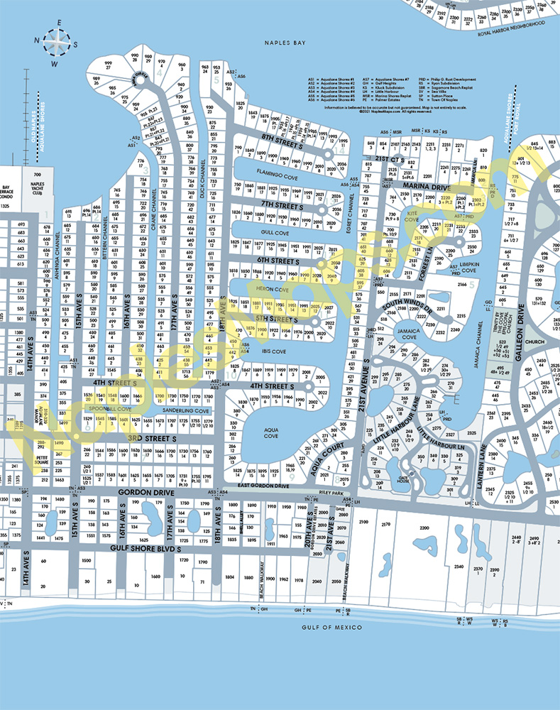 Map of Aqualane Shores Naples