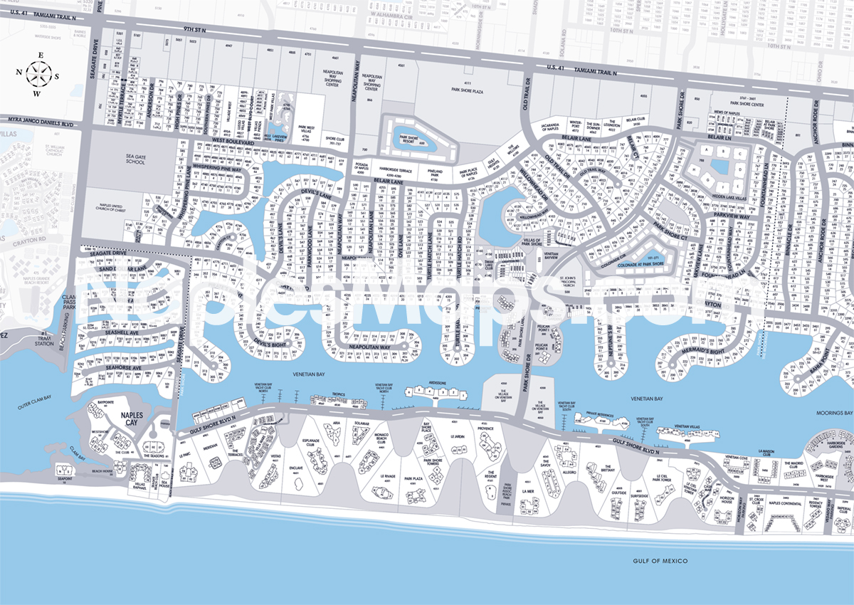 Map of Park Shore Naples