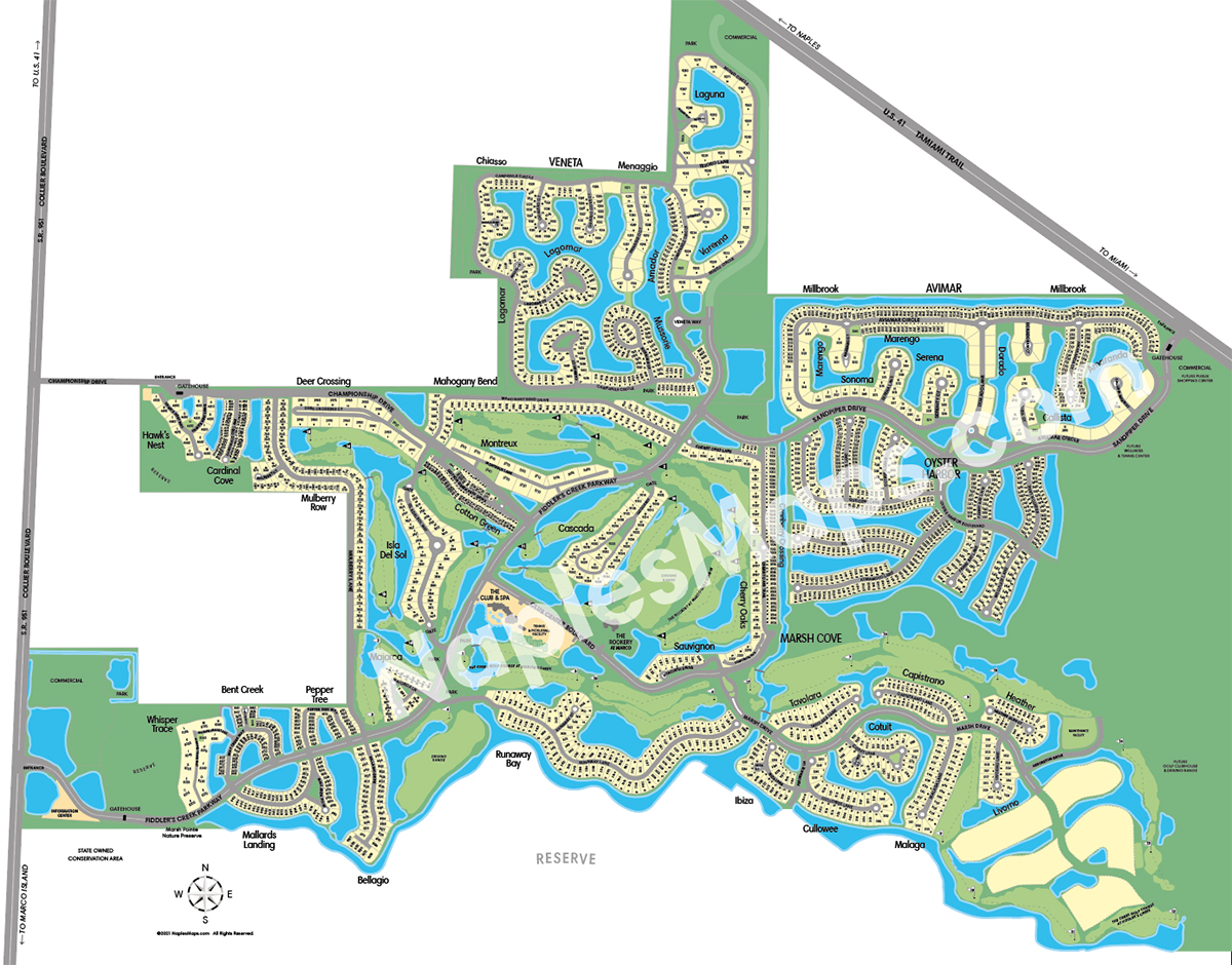 Map of Fiddler's Creek Naples