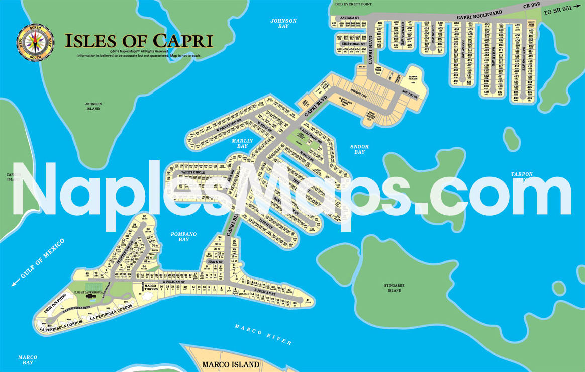 Map of Isles of Capri Naples